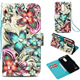 LG K8 2018 Case,Anti-Scratch Full Cover Pu Leather Wallet Case Dust Proof Lightweight with Inner Bumper Credit Card Holder with Wrist Strap Kickstand Case for LG K8 2018 -Kaleidoscope