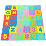 "ProSource Kids Puzzle Alphabet, Numbers, 36 Tiles and Edges Play Mat, 12"" by 12"""