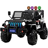 Uenjoy Ride on Car with Remote Control 12V Electric Car for Kids W/ Music& Story Playing, Colorful Lights, Sunshine Model, Black
