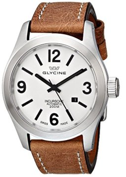Glycine Incursore Automatic Stainless Steel Mens Strap Watch Silver Dial Calendar 3874.11-LB