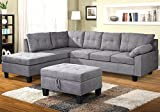 Product review for Harper & Bright Designs Sectional Sofa Set with Chaise Lounge and Storage Ottoman Nail Head Detail (Grey)