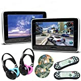 XTRONS Pair 2x10.1 Inch Car Auto Headrest HDMI Slim DVD Player Silver Frame Portable Monitor IR/FM Game Children Headphones Included(Blue&Pink)