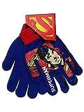 Superman Blue Red Knit Boys Winter Gloves