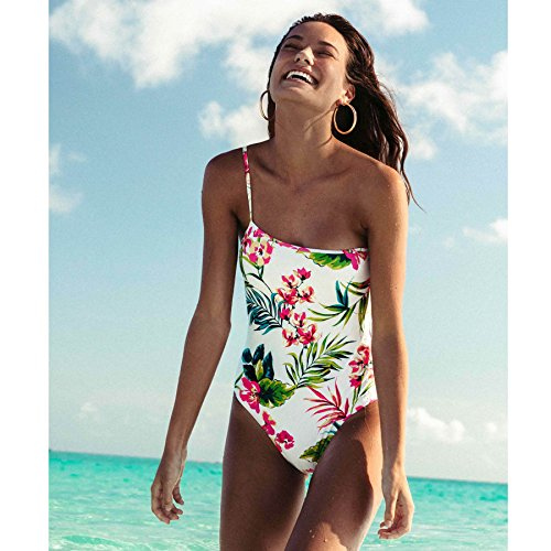51OKptwh6FL Printed one piece swim suit One shoulder fit