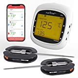 Smart Bluetooth BBQ Grill Thermometer - Upgraded Stainless Dual Probes Safe to Leave in Outdoor Barbecue Meat Smoker - Wireless Remote Alert iOS Android Phone WiFi App - NutriChef PWIRBBQ80