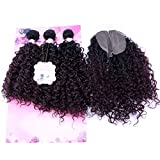 Kinky Curly Hair Bundles With Closure Synthetic Hair Weave Extensions Color T1B/99J# Two Tone Ombre 16 18 20 Inches With 18' Lace Closure One Pack Solution