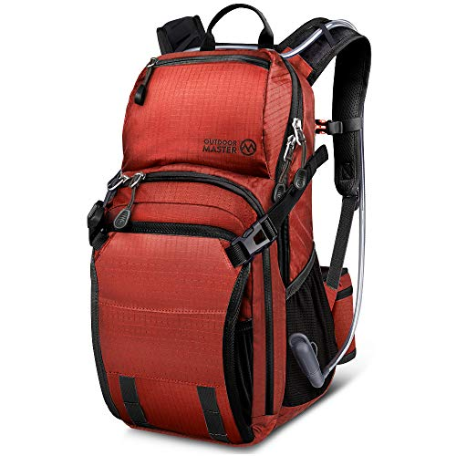 OutdoorMaster 25L HYDROBACK Hydration Backpack - 2L BPA Free Bladder | Large Volume, Ultra Ventilated Lightweight Day Pack for Hiking, Cycling, Climbing, Trekking, MTB - Red