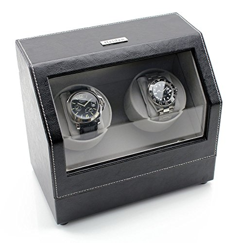 Heiden Battery Powered Double Watch Winder in Black Leather