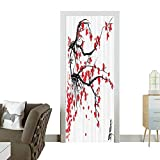 Door Sticker Wall Decals Sakura Blossom Japanese Cherry Tree Summertime Vintage Cultural Artwork Bathroom Easy to Peel and StickW32 x H80 INCH