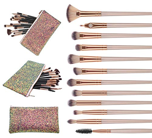 WAVALP Eye Makeup Brush Set, 12 Pieces Cosmetics Makeup Brushes with Cosmetic Bag (Brown)