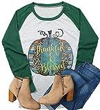 Women Halloween Pumpkin Print Shirt Top Thanksgiving Thankful Blessed T-Shirt Size L (Gray)