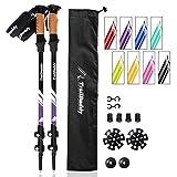 TrailBuddy Hiking Sticks - 2-pc Pack Adjustable Walking or Trekking Poles - Strong, Lightweight Aluminum 7075 - Quick Adjust Flip-Lock - Cork Grip, Padded Strap - (Purple Plum)