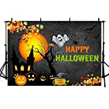 MEHOFOTO Happy Halloween Birthday Party Decoration Photo Studio Booth Background Props Pumpkin Ghost Halloween Eve Maple Leaves Banner Black Evening Backdrops for Photography 7x5ft