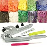 Original Professional-Grade KAMsnaps Lead-Tested Starter Pack: 100 Size 20 T5 KAM Snaps Snap Press Pliers for Plastic Snaps No-Sew Buttons Fastener Setter Hand Tool (Rainbow White)