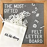 Gray Felt Letter Board 10x10 Inches. Changeable Letter Boards Include 300 White Plastic Letters and Oak Frame.