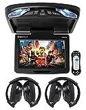 Rockville RVD12HD-BK 12' Black Flip Down Car Monitor DVD/USB Player+Headphones