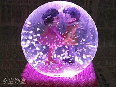 RaajaOutlets-Glass-Resin-Snow-Wool-Couple-With-Lights-Music-Box-Crystal-Ball-Standard-Transparent-1-Piece