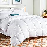 Linenspa All-Season Down Alternative Quilted Comforter - Hypoallergenic - Plush Microfiber Fill - Machine Washable - Duvet Insert or Stand-Alone Comforter - White - Full