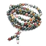 Jovivi Tibetan Buddhist Natural Indian Agate Gemstone 8mm 108 Prayer Mala Beads Bracelet Necklace