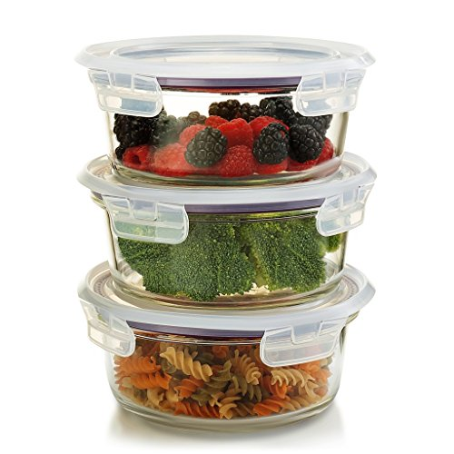 Komax Oven Safe Round Glass Food Storage Containers - Microwave & Freezer Safe - Airtight Bowls with Snap Locking Lids - 3 Piece Set - BPA FREE (32 oz)
