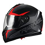 Triangle Full Face Dual Visor Matte Black Street Bike Motorcycle Helmet (Large, Matte Red)
