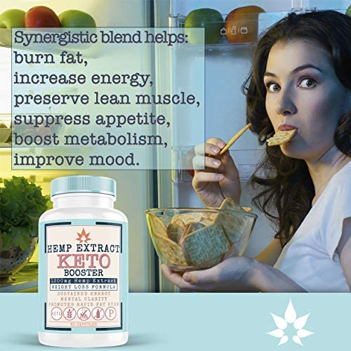 Hemp Oil Capsules for Pain & Ketosis   Advanced BHB Exogenous Ketones Supports Weight Management, Appetite Control, Increase Metabolism, Energy and Mental Focus - Pure Hemp Oil Supplements 60 Capsules 3