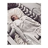 Infant Soft Pad Braided Crib Bumper Knot Pillow Cushion Cradle Decor for Baby Girl and Boy (Grey, 118')