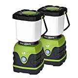 LED Camping Lantern, Battery Powered LED with 1000LM, 4 Light Modes, Waterproof, Perfect lantern flashlight for Hurricane Emergency, Outdoor, Hiking and Home, Pack of 2, Batteries Included by LE