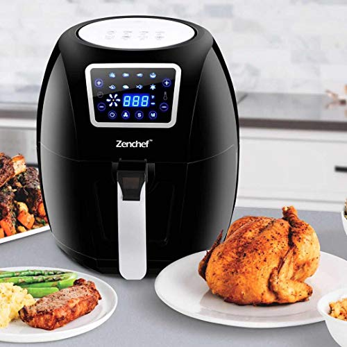 SUPER DEAL ZenChef PRO XXL Hot Air Fryer Family Size 5.8 Qt. 8-in-1 Digital Air fryer + Recipe Books, Upgraded Full Touch Screen, 1700W