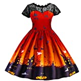 4-8Years Kids Girls Halloween Lace Ruched Short Sleeve Princess Dress Party Costume (120, Orange)