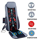 Sotion Shiatsu Back Massager for Chair Seat Massage Cushion with Heat, Deep Kneading Rolling Vibration Massage Chair Pad, Relief Pain and Fatigue from Back, Lumbar, Highs