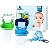 Baby Food Feeder, Tinabless Fresh Fruit Feeder Infant Teething Toy Nibbler Teether Pacifier and Silicone Pouches for Baby with Clip M (2Pcs)