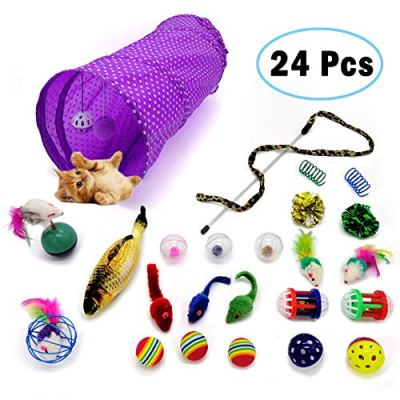 LKEX 24PCS Cat Toys Interactive Kitten Toys Assortments, Cat Feather Teaser, 2 Way Tunnel, Catnip Fish,Cat Springs,Funny Wand Toy Fluffy Mouse, Crinkle Balls for Cat, Puppy, Kitty, Kitten
