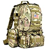 CVLIFE Tactical Military Backpack Built-up Army Rucksacks Outdoor 3 Day Assault Pack Combat Molle Backpack for Hunting Hiking fishing with Flag Patch Multicam CP