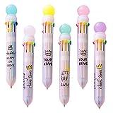 Shulaner Multi Colored Ballpoint Pens 0.5mm Ten Color Ink in One Ballpoint Pen, Pack of 6