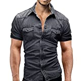 Men Button Slim Shirts, Casual Short Sleeves Dress Shirts with Pocket Cotton Blend Sexy Top Blouse (Large, Gray)