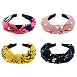 DRESHOW 1950's Vintage Modern Style Elastic Women Turban Headbands Twisted Cute Hair Band Accessories (4 Pack Wide Headbands Printed A)