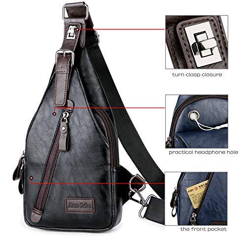 Alena Culian Sling Backpack Men Leather Chest Bag Crossbody Shoulder Bag For Men(black) 16 Fashion Online Shop gifts for her gifts for him womens full figure
