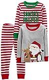 Simple Joys by Carter's Boys' 3-Piece Snug-Fit Cotton Christmas Pajama Set, Red/White Stripe/Santa, 18 Months