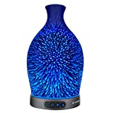 Sztrokia Essential Oil Diffuser, 3D Glass Aromatherapy Diffuser, 300ML Aroma Essential Oil Cool Mist Humidifier with 24 Color Changing, Metal-Case Base, Waterless Auto Shut-Off for Home, Office,Baby