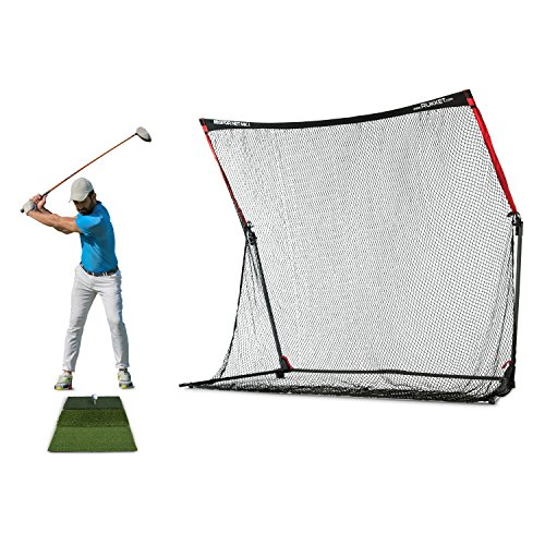 Rukket 4pc Golf Practice Bundle | 10x7ft SPDR Driving Net | Tri-Turf Hitting Mat | Barrier Protective Wings | Carry Bag | Portable Indoor and Outdoor at Home & Residential