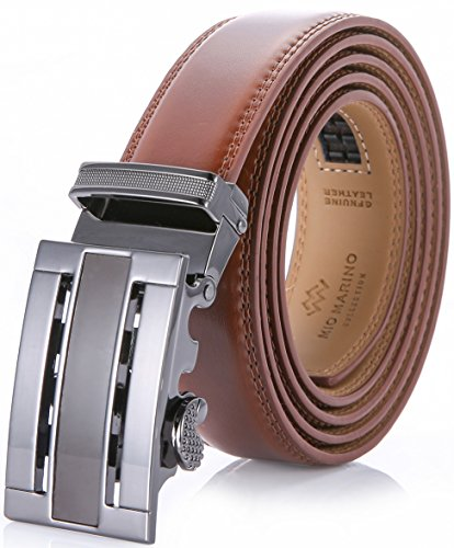 Marino Men's Genuine Leather Ratchet Dress Belt With Automatic Buckle, Enclosed in an Elegant Gift Box - Burnt Umber - Adjustable from 38' to 64' Waist