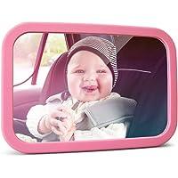 MYSBIKER Specchio Auto Bambino, Specchietto Retrovisore Bambini a rotazione di 360°, Specchietto per Seggiolino Auto Infranbile, Auto Neonato Specchio Controllo Bimbi con Doppia Cinghia Regolabile