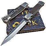 TEK Tactical Spring Assisted Everyday Carry EDC Folding Pocket Knife I 8Cr13MoV Razor Sharp Drop Point Blade