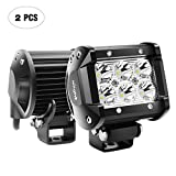 Nilight 2PCS 18W 1260lm Spot Driving Fog Light Off Road Led Lights Bar Mounting Bracket for SUV Boat 4' Jeep Lamp,2 years Warranty