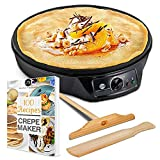 "Crepe Maker Machine Pancake Griddle - Nonstick 12"" Electric Griddle - Pancake Maker, Batter Spreader, Wooden Spatula - Crepe Pan for Roti, Tortilla, Blintzes - Portable, Compact, Easy Clean"
