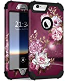 iPhone 6s Plus Case, iPhone 6 Plus Case, Hocase Heavy Duty Shockproof Protection Hard Plastic+Silicone Rubber Protective Case for iPhone 6 Plus/6s Plus w/ 5.5' Display - Royal Purple/White Flowers