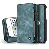 iPhone 6s Detachable Wallet Case XRPow 2In1 Multi-Functional Removable Magnetic Back Cover 11 Card Slots & 3 Cash Pocket Premium Folio Zipper Wallet Case for iPhone 6/6s 4.7' Blue