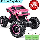 RC Cars, DOUBLE E Newest 1:12 Scale Remote Control Car with Two Rechargeable Batteries and Dual Motors Off Road RC Trucks,High Speed Racing Car for Kids,Pink