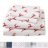 Great Bay Home Extra Soft Reindeer 100% Turkish Cotton Flannel Sheet Set. Warm, Cozy, Lightweight, Luxury Winter Bed Sheets. Belle Collection (Full, Reindeer)